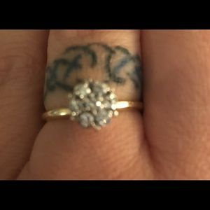 Jewelry - Antique Engagement Ring 14k Diamond Flower Cluster